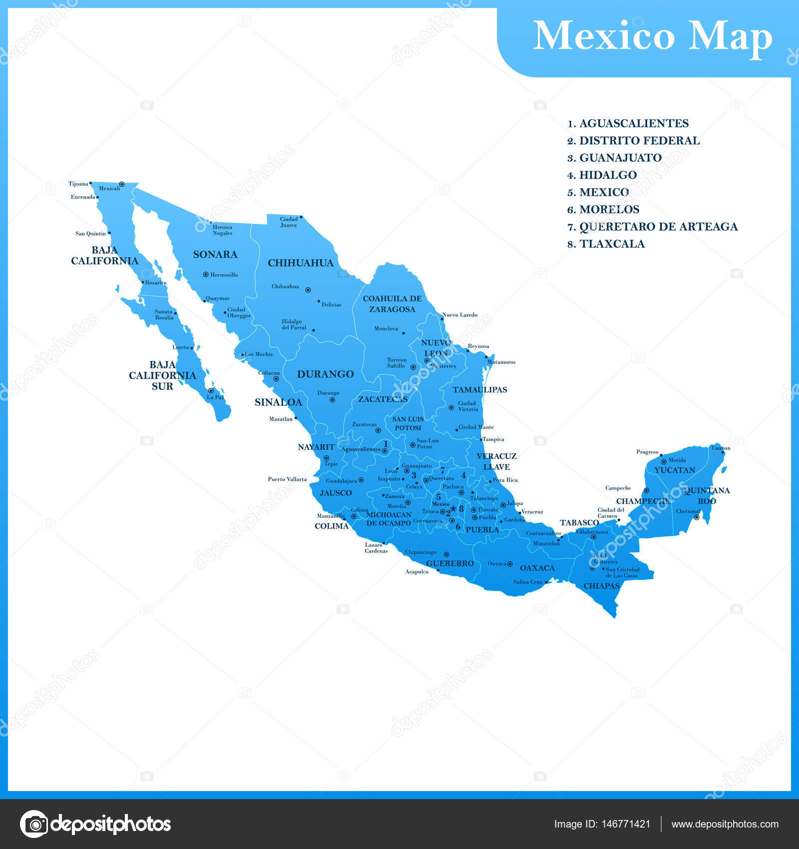 Mexico Map Capitals.The Detailed Map Of The Mexico With Regions Or States And Cities