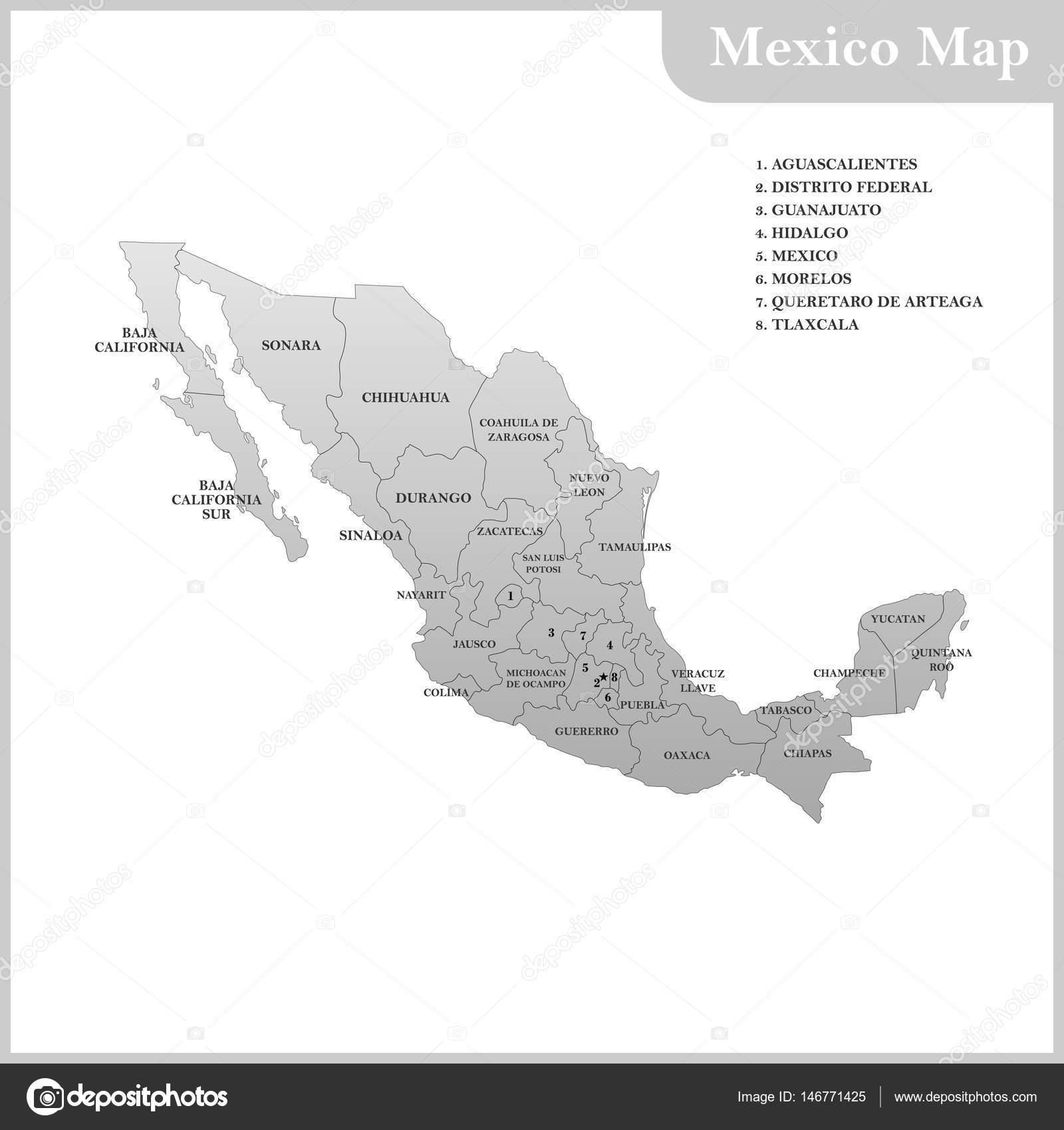 baja részletes térkép A részletes Térkép, régiók vagy Államok, Mexikó — Stock Vektor  baja részletes térkép