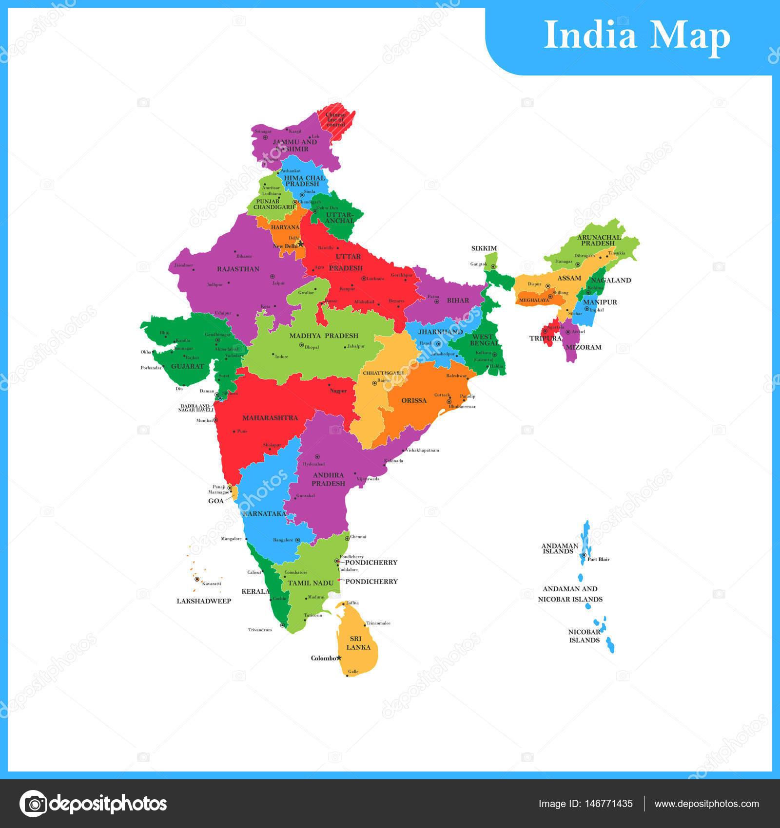 Carte Inde Et Sri Lanka.La Carte Detaillee De L Inde Avec Les Regions Ou Etats Et