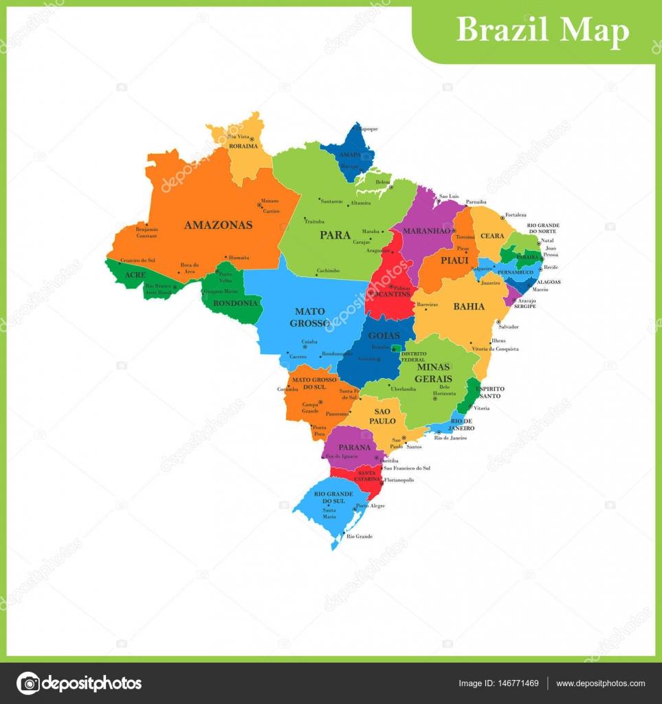 Muitas vezes O mapa detalhado do Brasil com regiões ou Estados e cidades  PK23