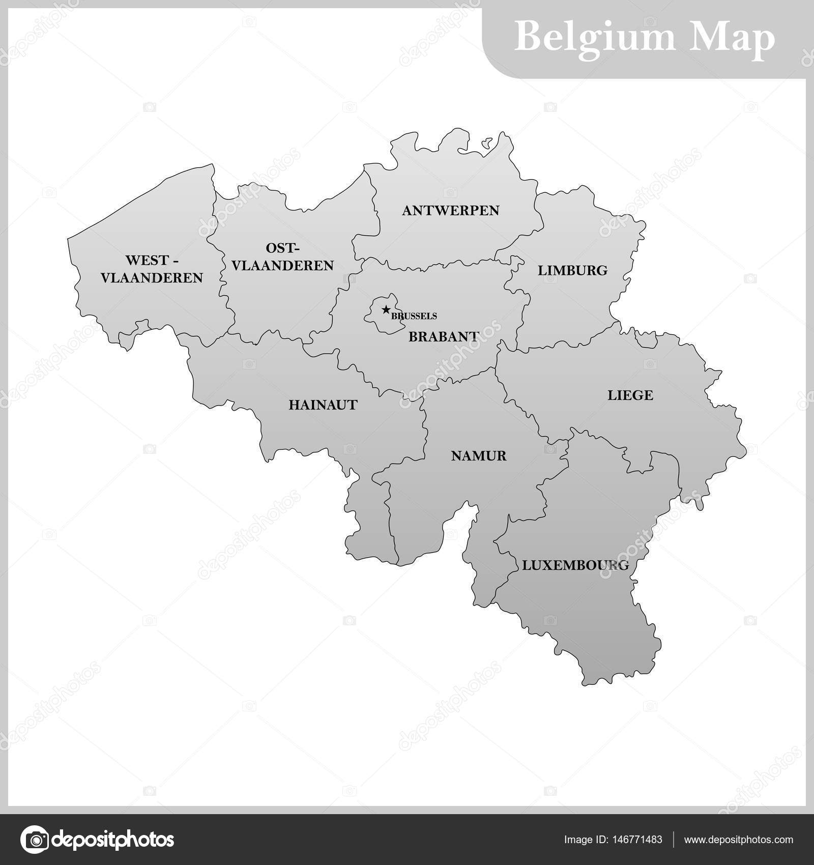 the detailed map of the belgium with regions or states and capital stock vector