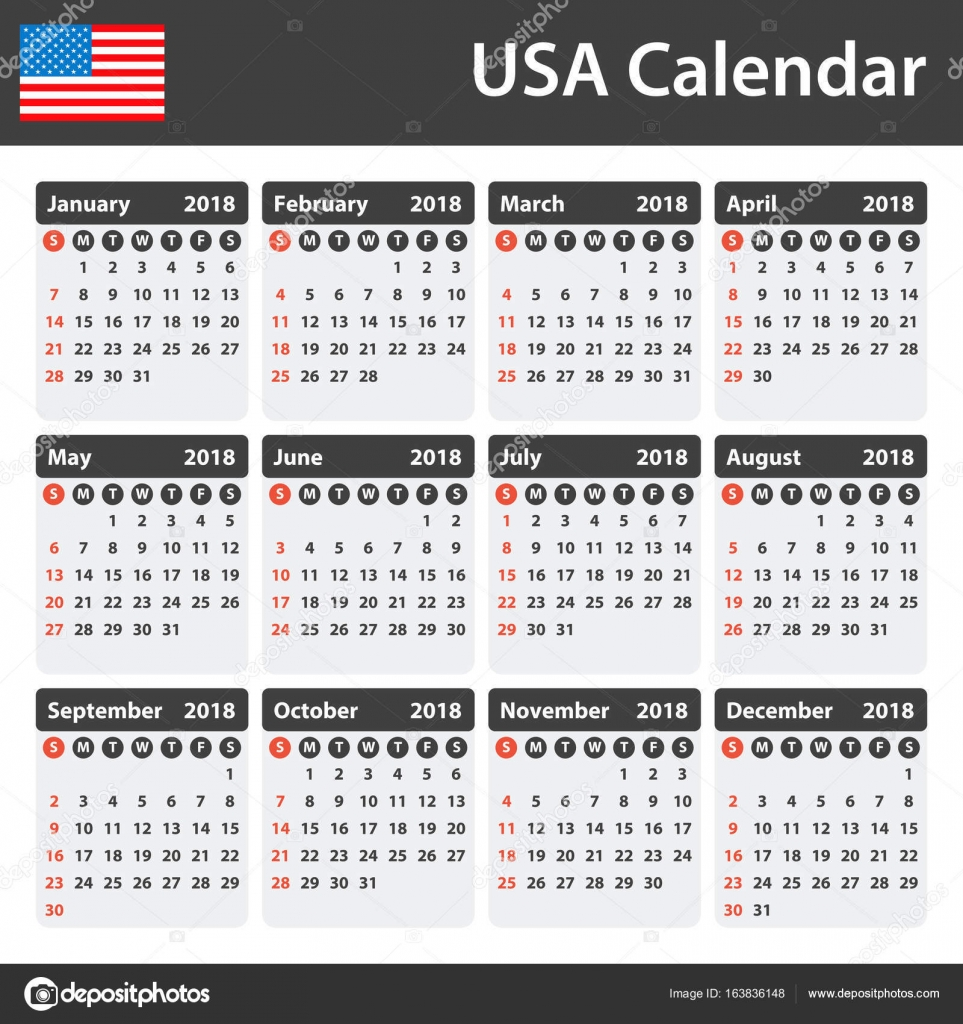 USA-Kalender für das Jahr 2018. Scheduler, Agenda oder Tagebuch ...