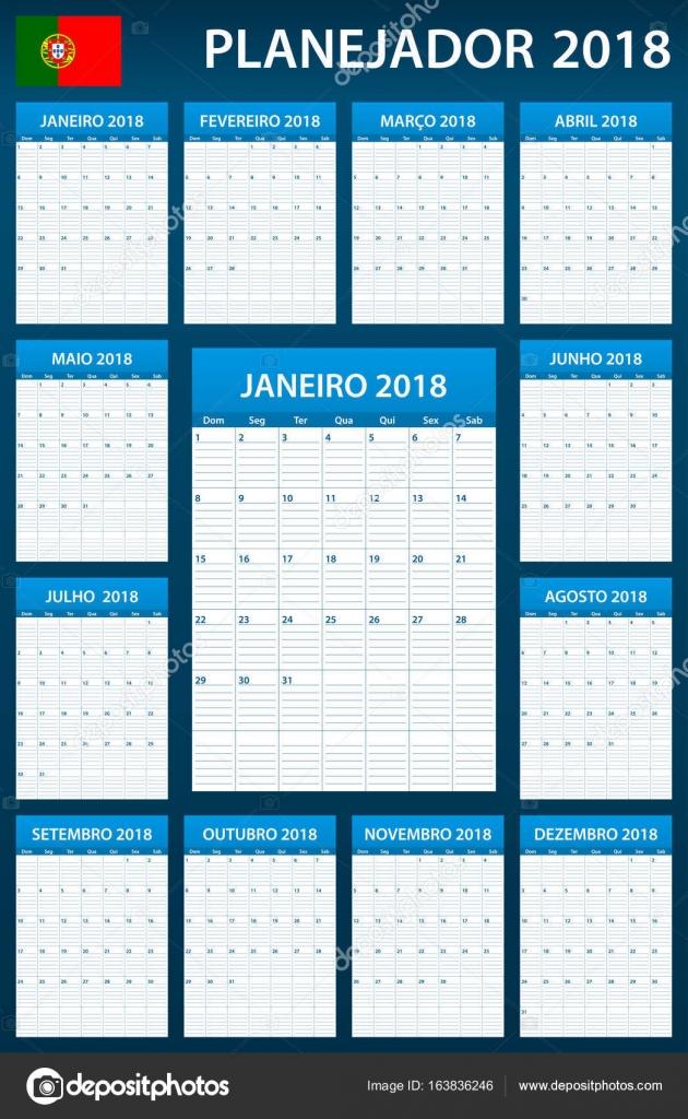 Portugiesisch-Planer für 2018 leer. Scheduler, Agenda oder Tagebuch ...