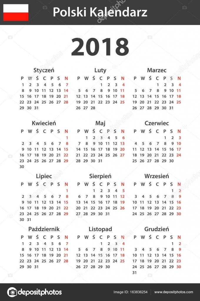 Polnische Kalender für das Jahr 2018. Scheduler, Agenda oder ...