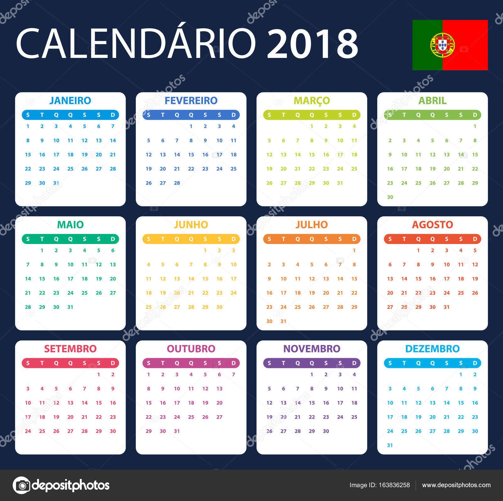 Calend rio portugu s para 2018 modelo de agendador for Calendario de pared 2018