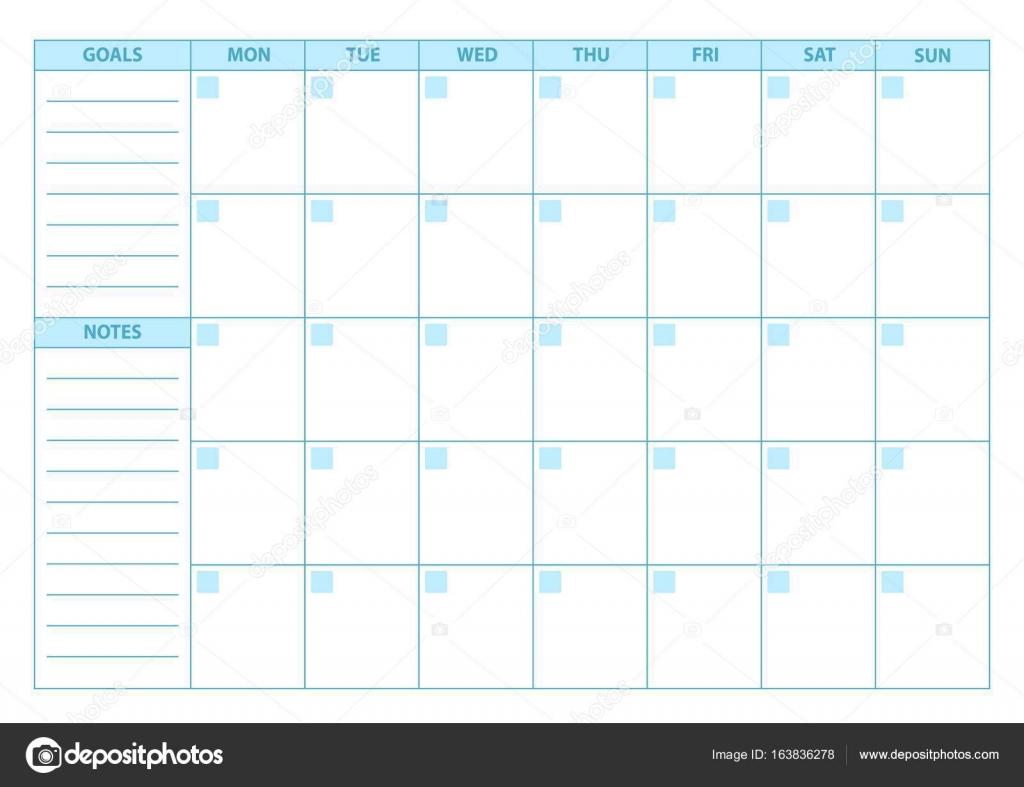 Leer-Planer. Scheduler, Agenda oder Tagebuch Vorlage. Woche beginnt ...