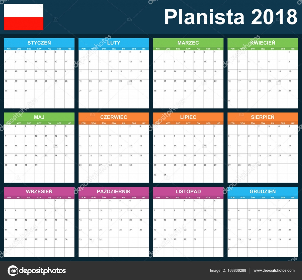 Polnischen Planer für 2018 leer. Scheduler, Agenda oder Tagebuch ...