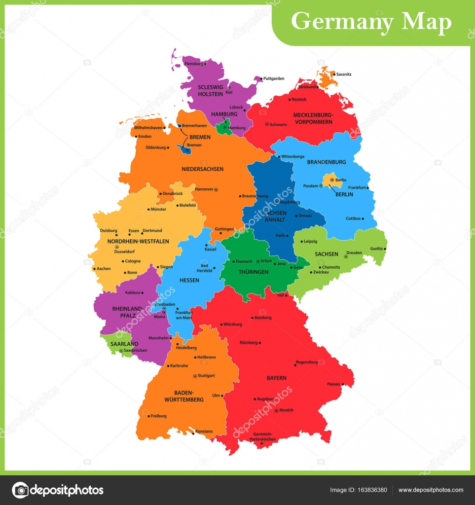 the detailed map of the germany with regions or states and cities capitals stock