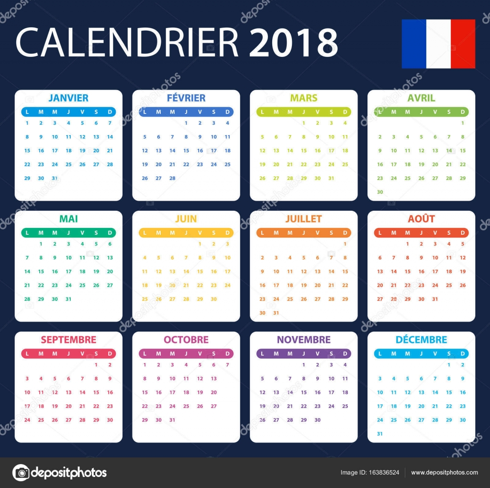 Calendario Frances.Calendario Frances Para 2018 Modelo De Agendador Agenda Ou