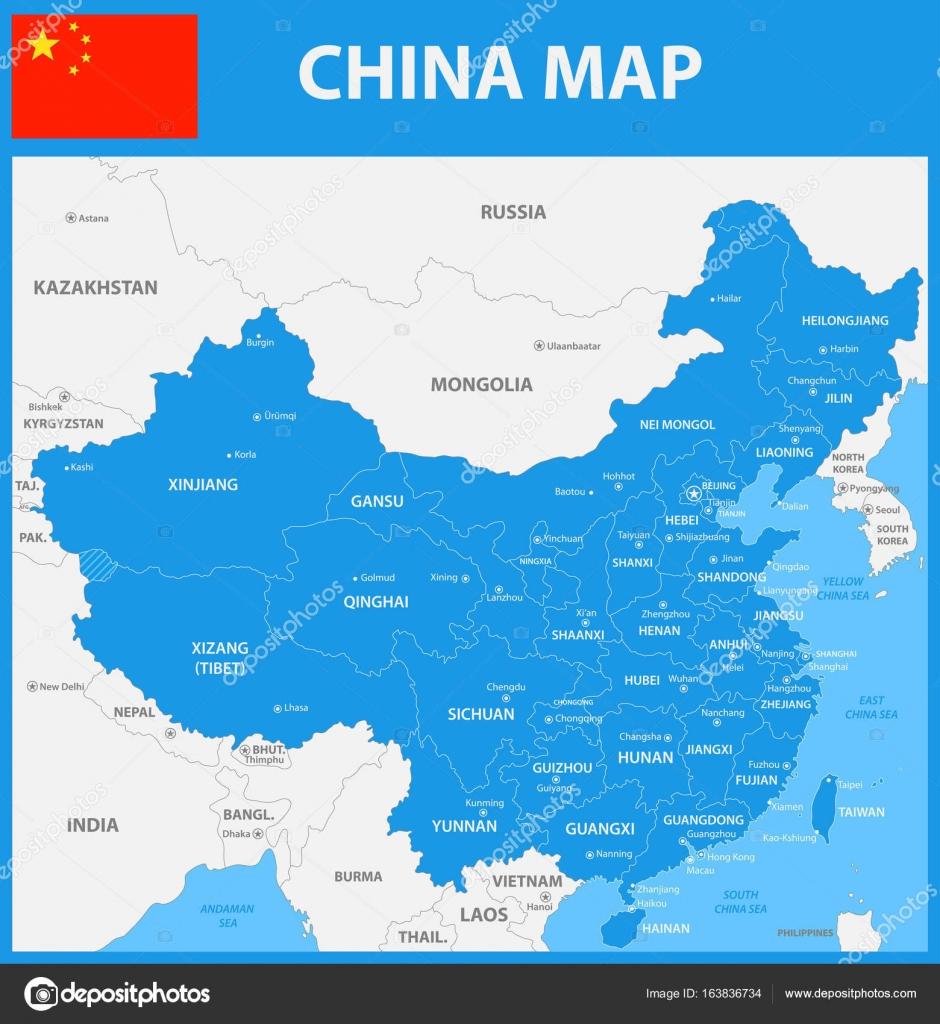 Die detaillierte Karte von China mit Städten, Regionen oder Staaten ...