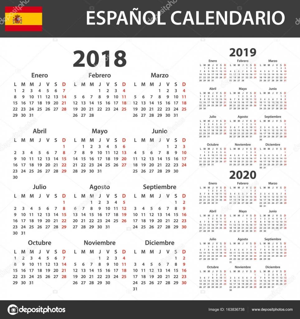 Calendario Diario 2020.Vector Plantillas Agenda 2018 Calendario Espanol Para