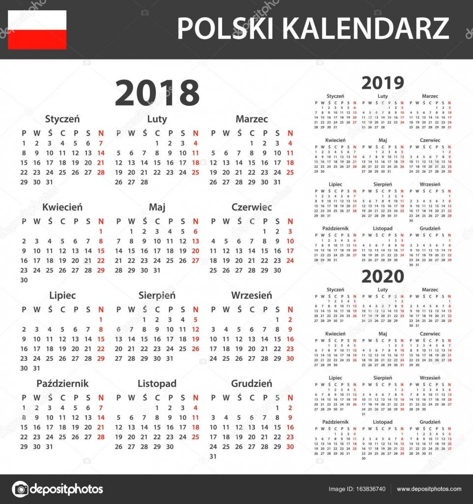 Polnische Kalender für 2018, 2019 und 2020. Scheduler, Agenda oder ...