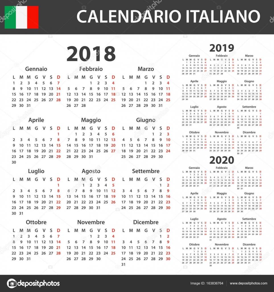 Calendario Dicembre 2019 E Gennaio 2020.Calendario Italiano Per Il 2018 2019 E 2020 Modello Di