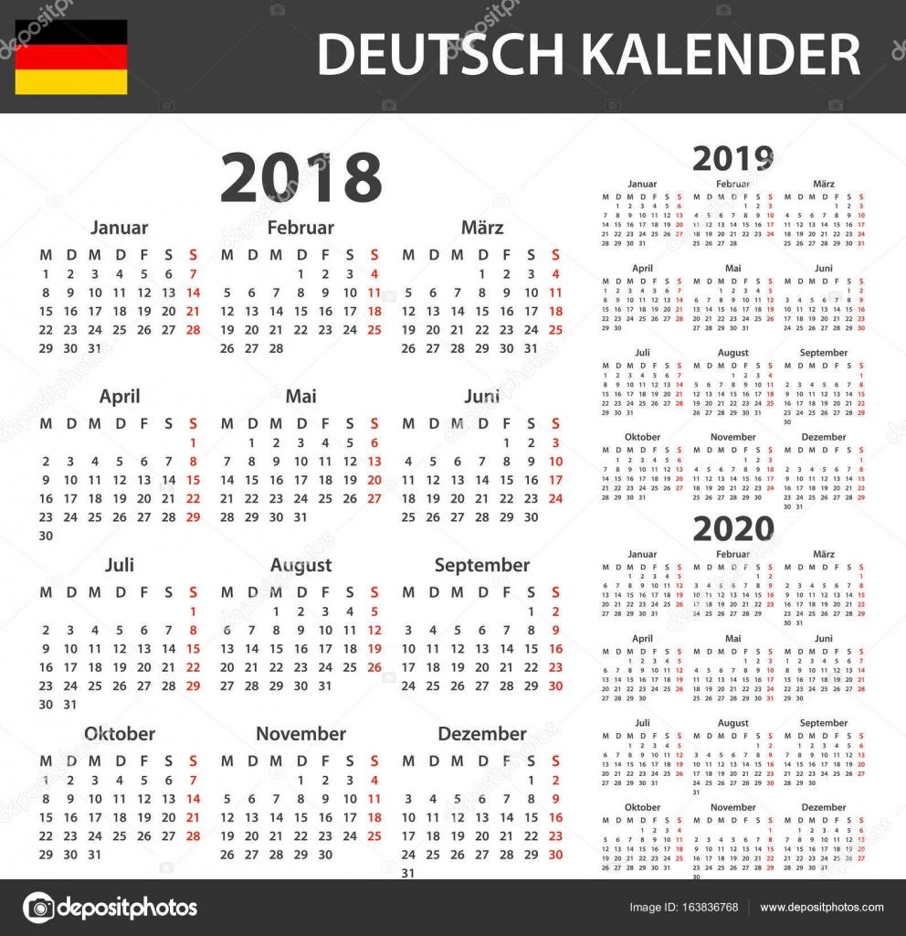 Deutscher Kalender für 2018, 2019 und 2020. Scheduler, Agenda oder ...