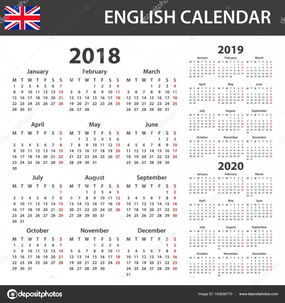Englischen Kalender für 2018, 2019 und 2020. Scheduler, Agenda oder ...