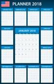 USA Plánovač prázdné pro rok 2018. Šablona služby Plánovač, agendu nebo deník. Týden začíná v neděli