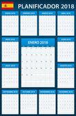 Španělské Plánovač prázdné pro rok 2018. Šablona služby Plánovač, agendu nebo deník. Týden začíná v pondělí