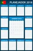 Portugalské Plánovač prázdné pro rok 2018. Šablona služby Plánovač, agendu nebo deník. Týden začíná v pondělí
