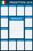 Italský Plánovač prázdné pro rok 2018. Šablona služby Plánovač, agendu nebo deník. Týden začíná v pondělí