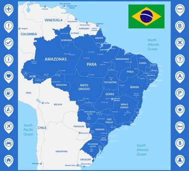 The detailed map of the Brazil with regions or states and cities, capitals. With map pins or pointers. Place location markers or signs