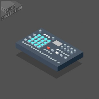 3d isometric flat digital drum machine