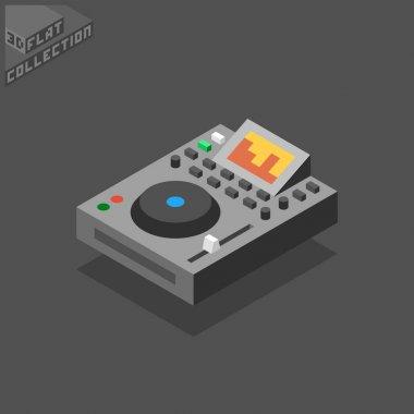3d isometric flat dj gear digital professional player.