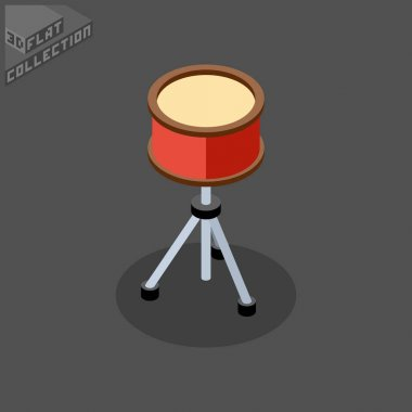 3d isometric flat snare drum