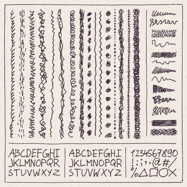 Doodle squiggles alphabet set