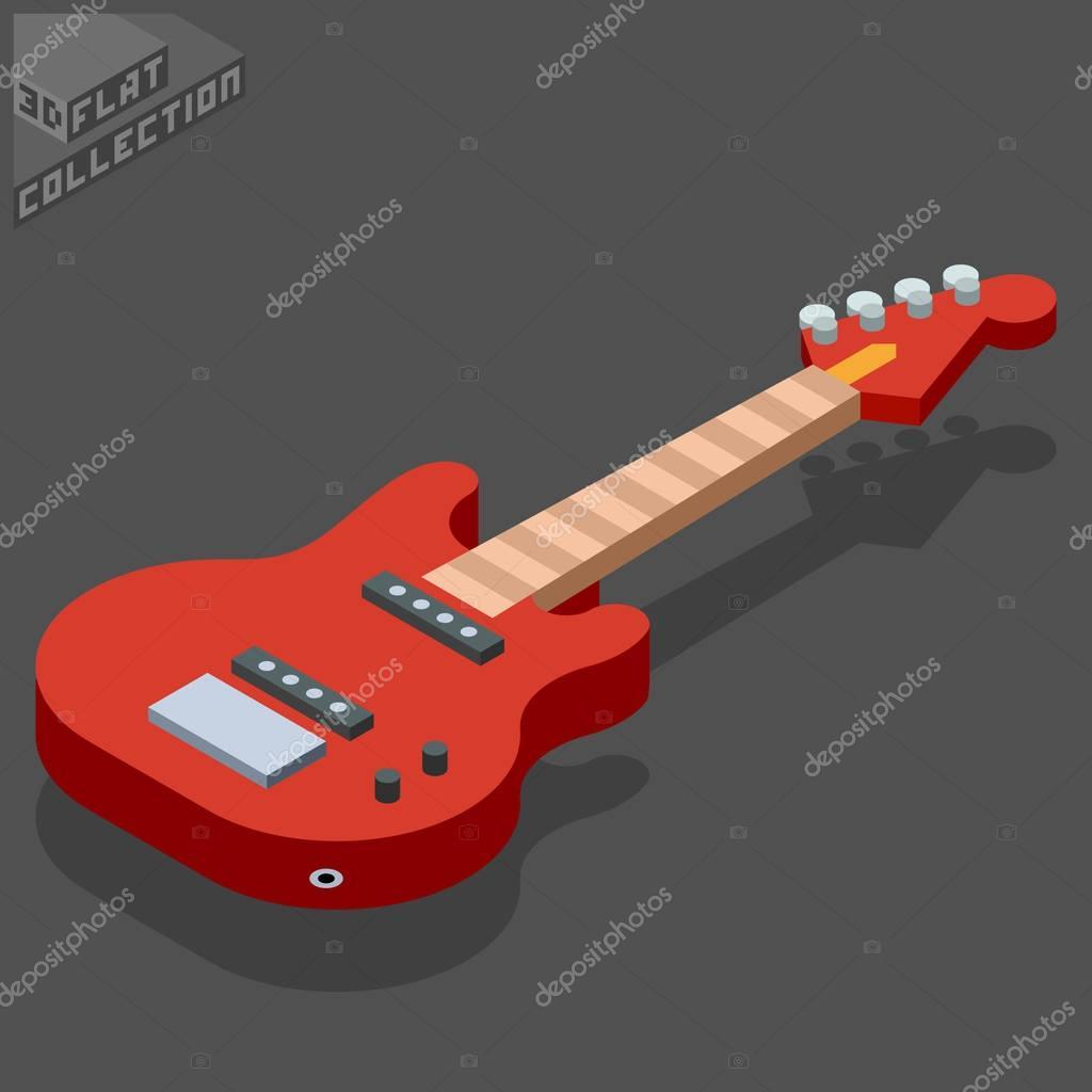 3d isometric flat bass guitar