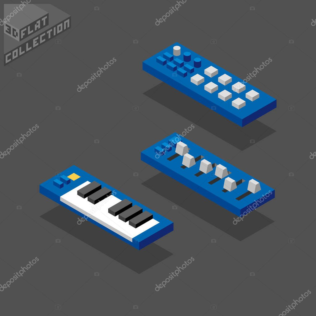 3d isometric flat portable midi controllers