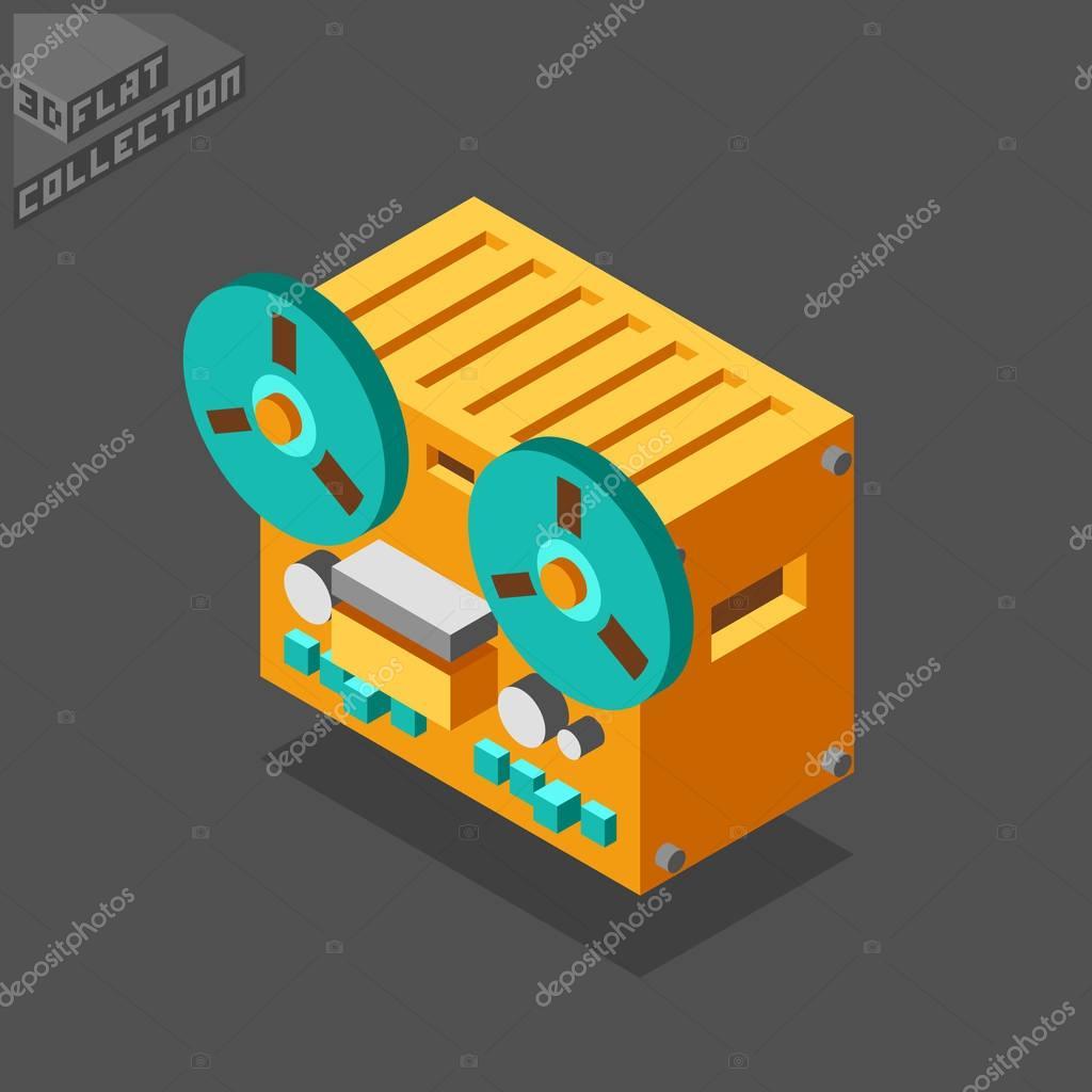 3d isometric flat reel to reel tape recorder.
