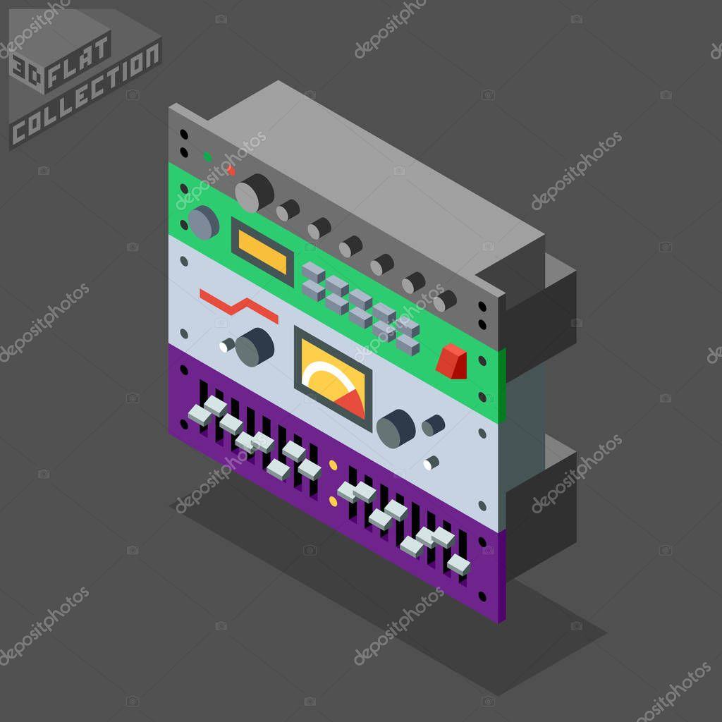3d isometric flat rack sound recording equipment effects