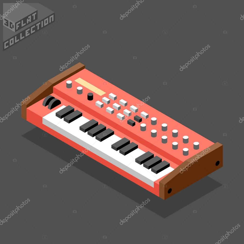3d isometric flat vintage synthesizer.