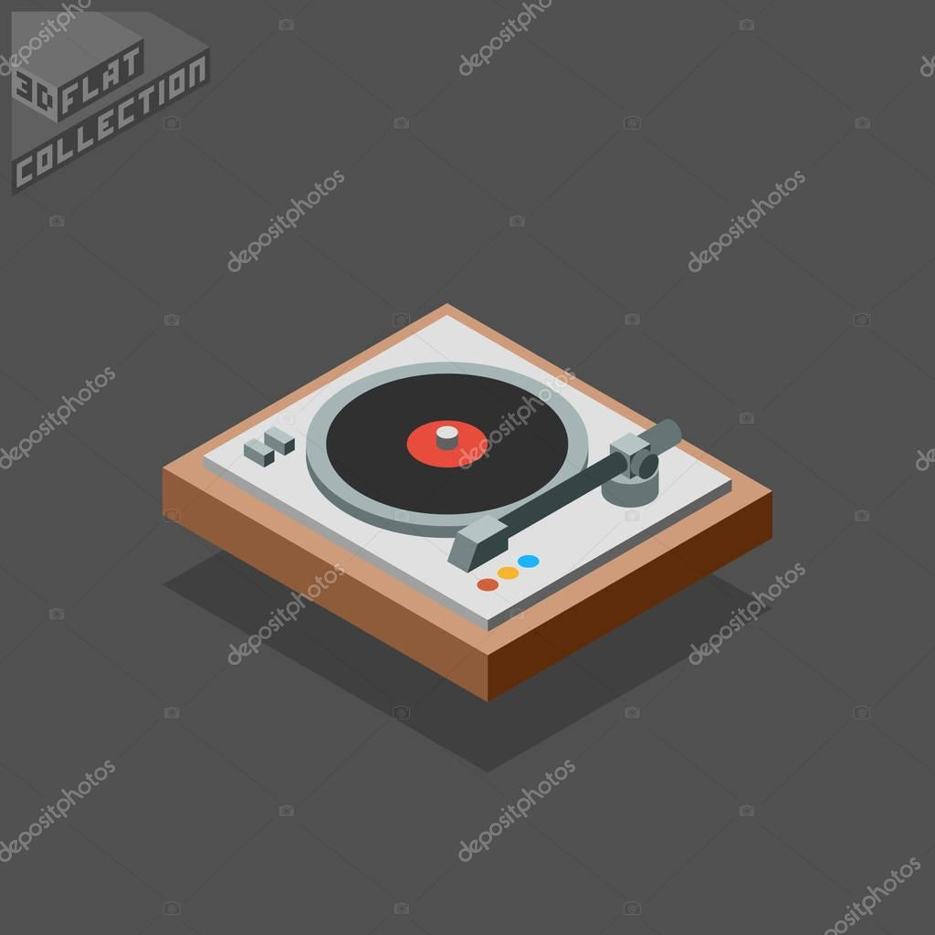 3d isometric flat vinyl player turntable