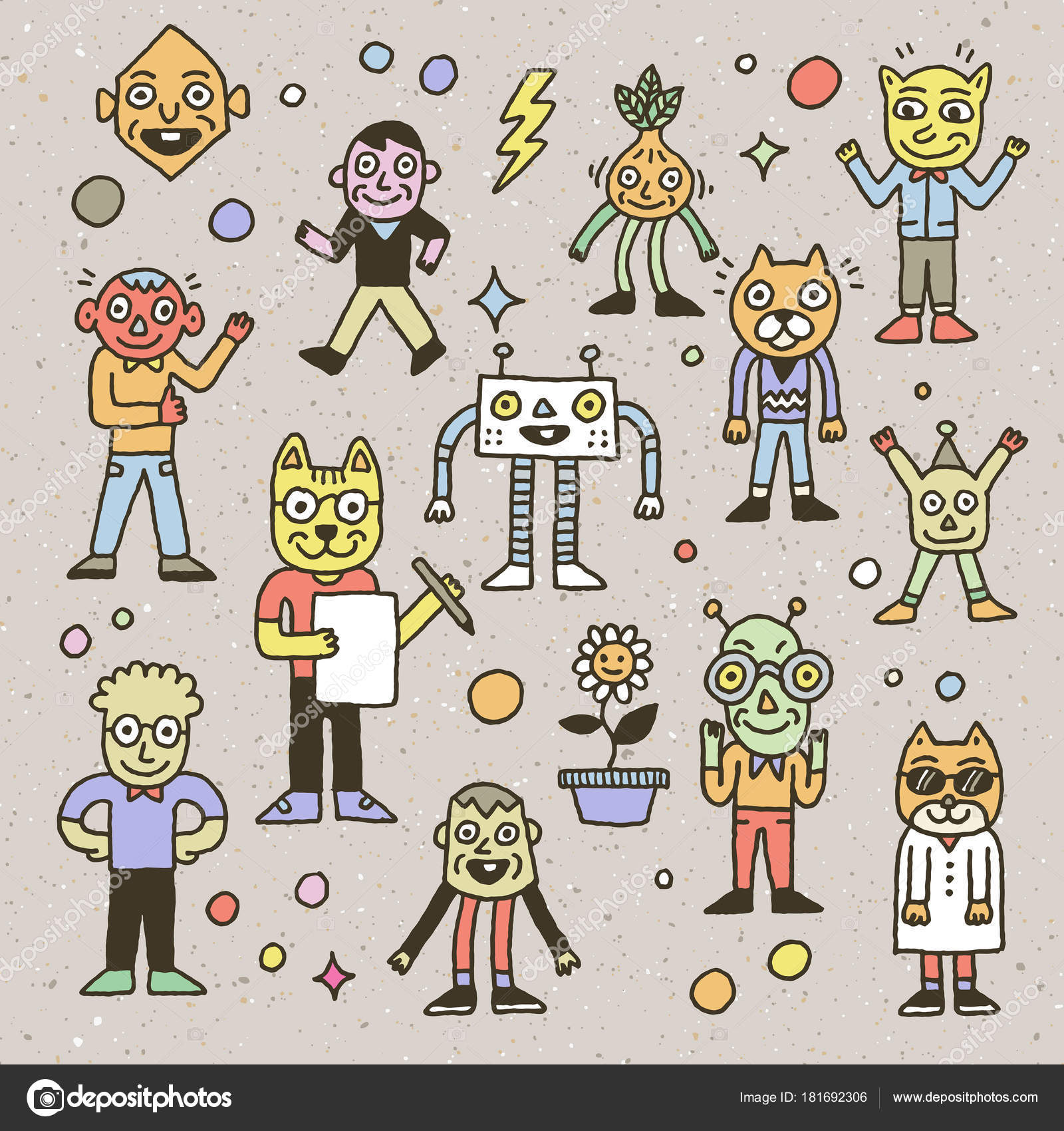 Wacky Funny Doodle Characters Outline Vector Illustrations — Stock