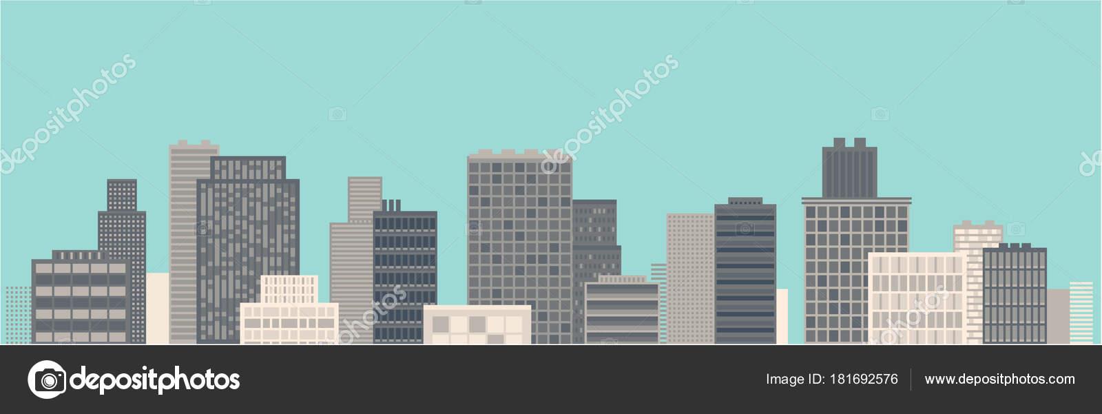 Modern City Landscape Cool Blue Flat Design Wide Illustration U2014 Vetor De  Stock