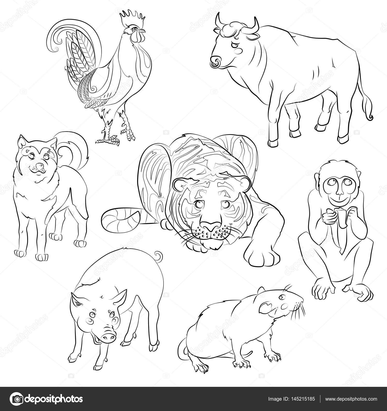Gallo, perro, cerdo, rata, mono, tigre y buey — Archivo Imágenes ...