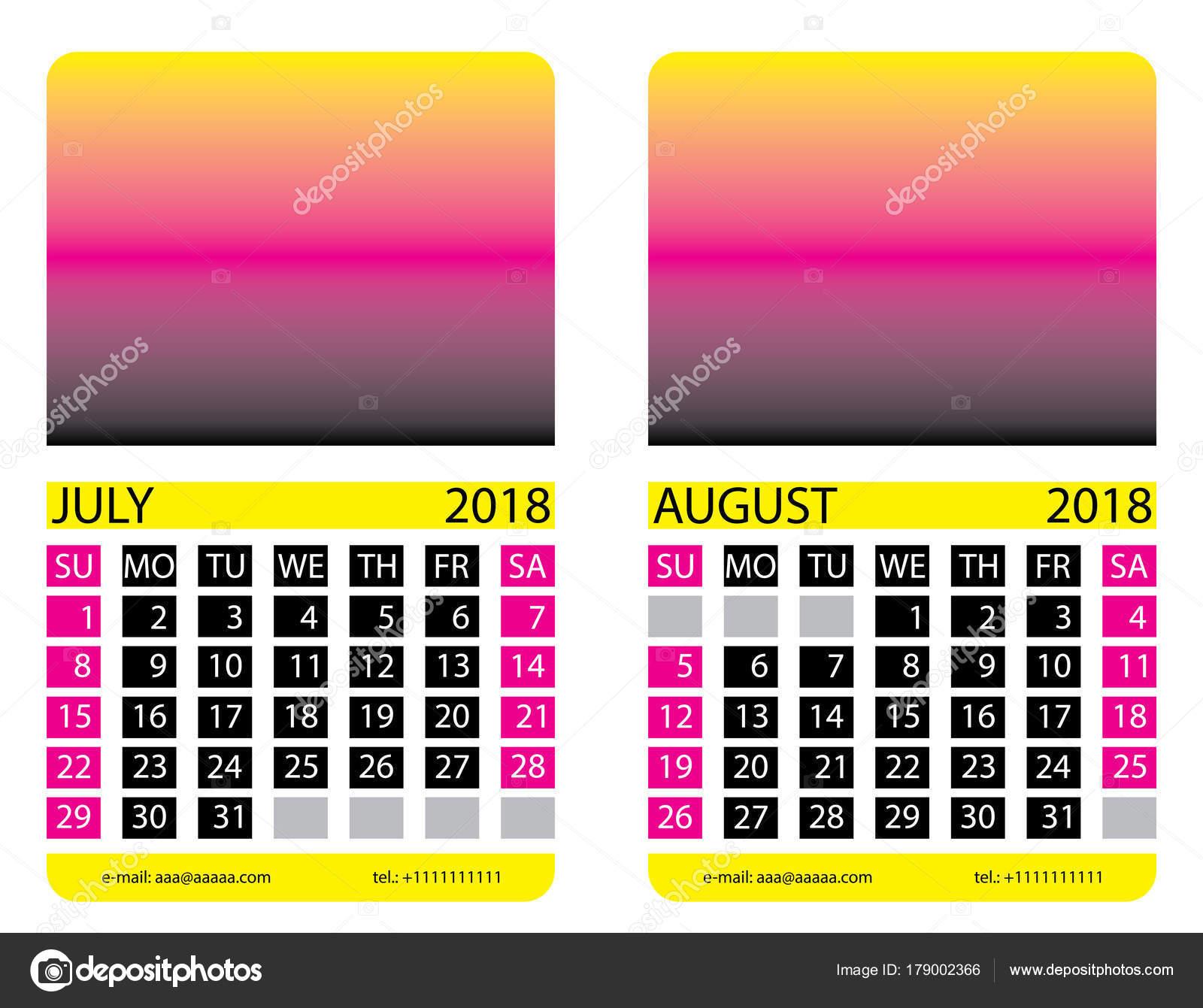 Calendario Luglio Agosto.Griglia Del Calendario Luglio Agosto Vettoriali Stock