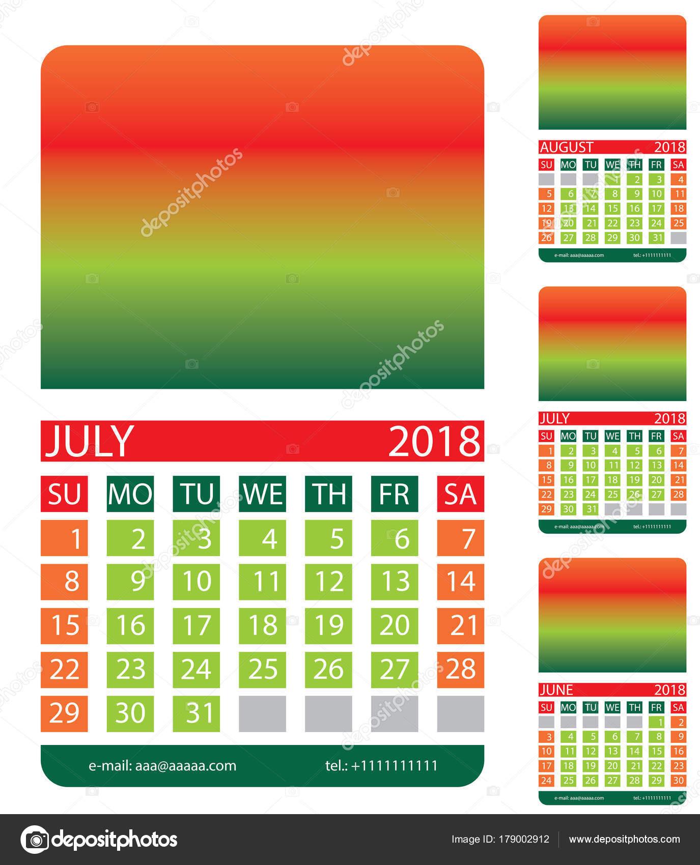 Calendario Luglio Agosto.Griglia Del Calendario Luglio Agosto Giugno Vettoriali