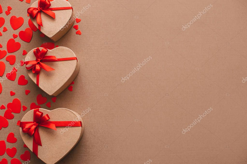 Gifts Lovers Valentine Day Heart Background Stock Photo