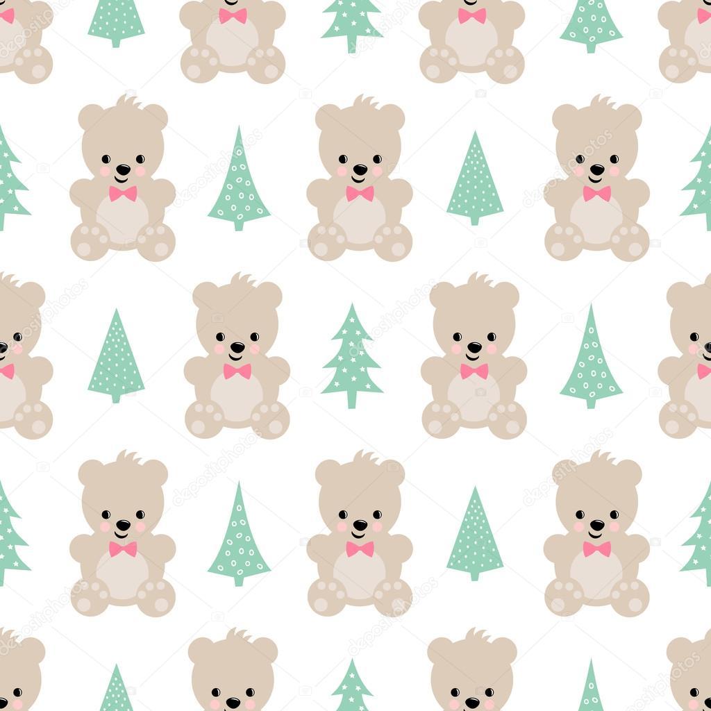 Oso de peluche con patrones sin fisuras de árboles de Navidad sobre ...
