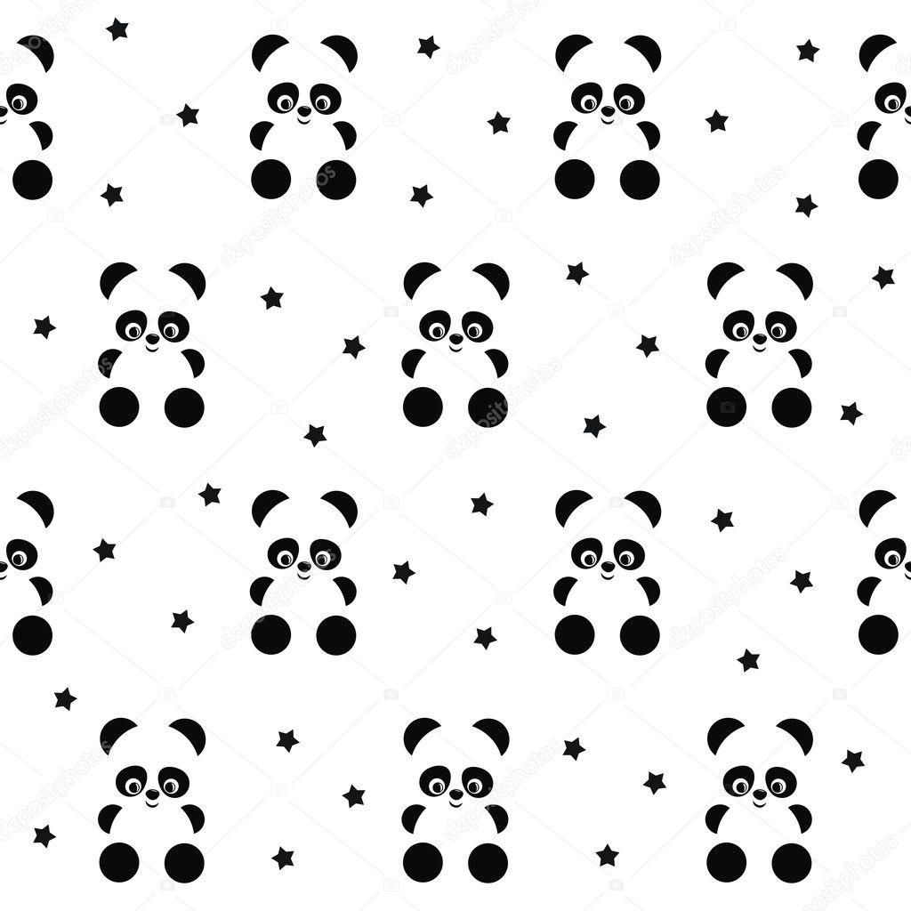 Polka Dot Wall Sticker Panda Met Naadloze Patroon Van Sterren Op Witte