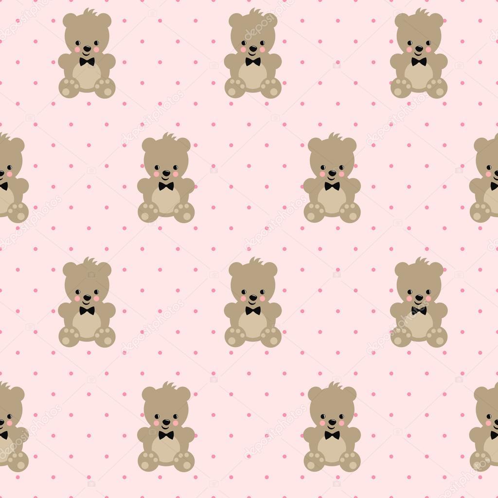 Oso de peluche de patrones sin fisuras en el fondo de lunares rosa ...