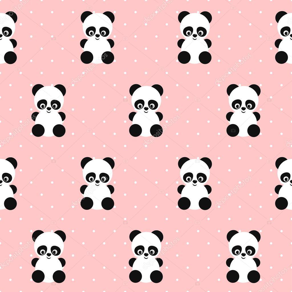 Iphone wallpaper koala - Panda Naadloze Patroon Op Polka Dots Roze Achtergrond