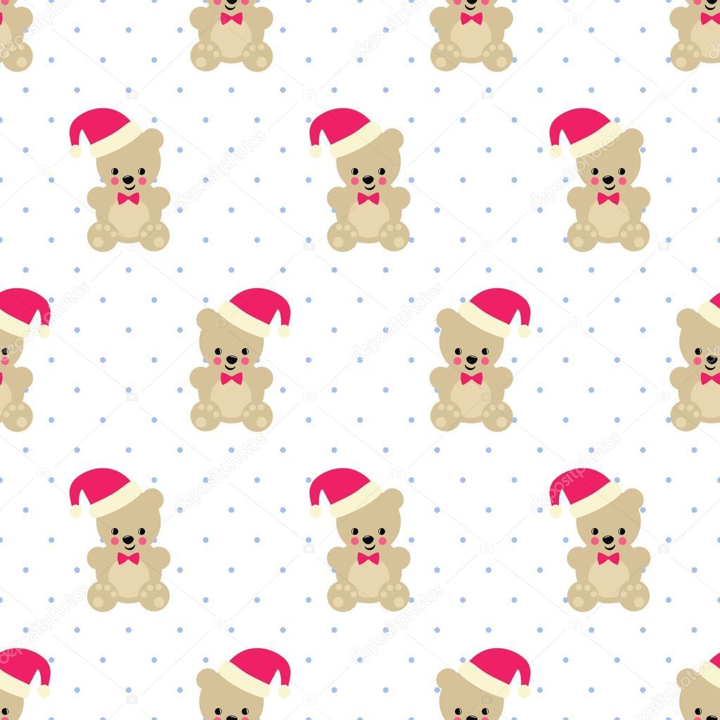 Navidad oso de peluche de patrones sin fisuras en el fondo de ...