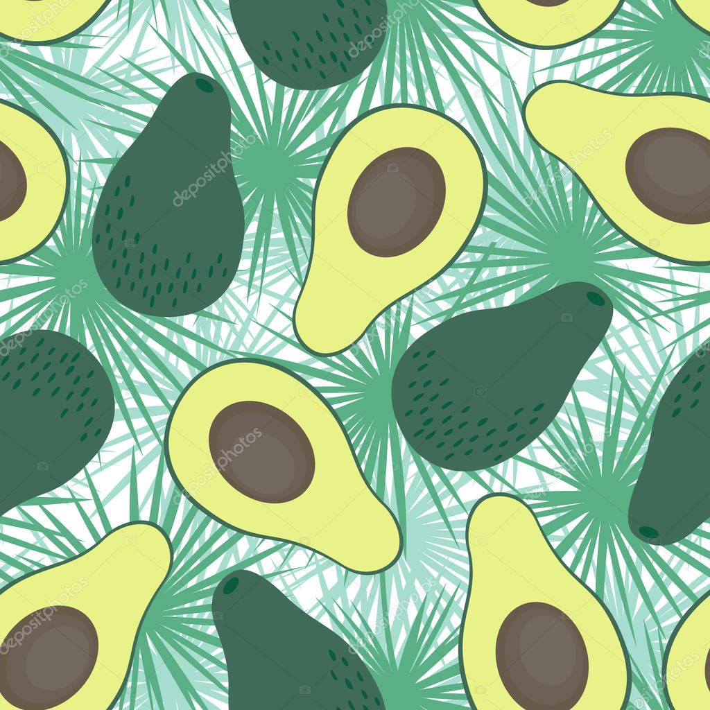 Avocado seamless pattern with tropical leaves on white background.