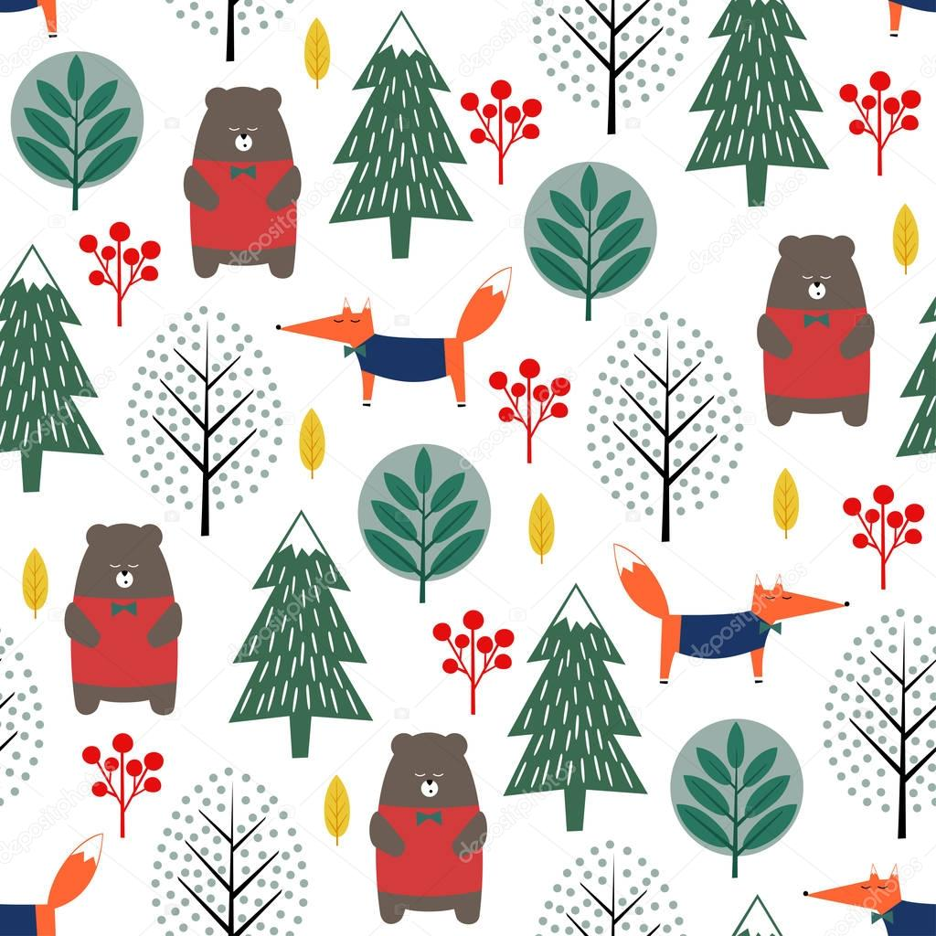 Fox, bear, trees and berries seamless pattern on white background.