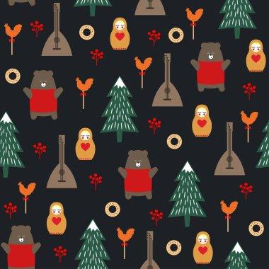 Russian symbols seamless pattern on dark background.