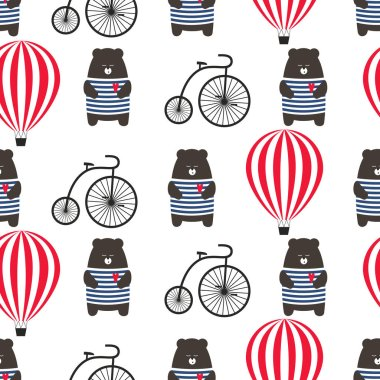 Bear with bicycle and hot air balloon seamless pattern.