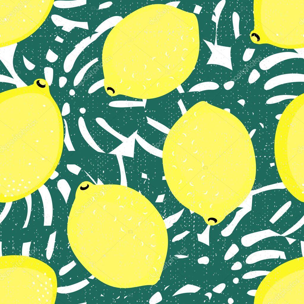 Seamless decorative background with yellow lemons and green palm leaves.